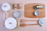 Kitchen utensils for cooking classes on wooden background