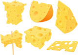 Set of Cartoon Illustration. Cheese Clip Art for you Design