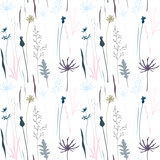 Vector floral seamless pattern with wild meadow flowers, herbs and grasses.