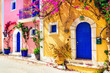 Colorful Greece series - charming streets of Assos village in Kefalonia