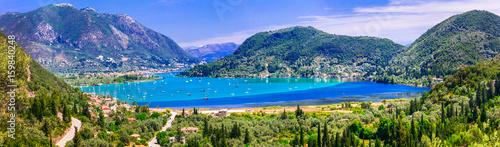 Panoramic of Nidri bay, beautiful Lefkada island. Greece