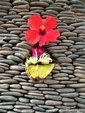 Bali, eine Opfergabe steckt in einer Steinwand