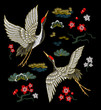 Japanese white cranes with red flowers. Embroidery vector. - 159859885