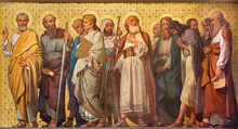 "Постер, картина, фотообои ""TURIN, ITALY - MARCH 15, 2017: The symbolic fresco of Twelve apostles in church Chiesa di San Dalmazzo by Enrico Reffo (1914)."""