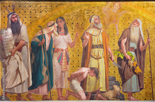 Plakat TURIN, ITALY - MARCH 15, 2017: The symbolic fresco of patriarchs Moses, Joseph, Abraham and Josue in church Chiesa di San Dalmazzo by Enrico Reffo and Luigi Guglielmino (1916)