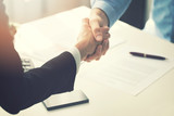 business people handshake after partnership contract signing - 159871233