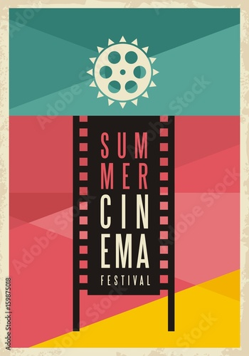 Fotobehang Vintage Poster Conceptual artistic poster design for summer cinema movie festival