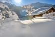 Quadro chalet dans paysage sous la neige