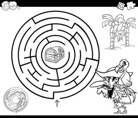 maze with pirate coloring page