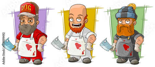 Cartoon butcher with knife character vector set