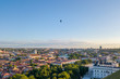 Beautiful summer panorama of Vilnius with hot air balloons in the sky, taken over the Gediminas hill, drone aerial view - 159900469