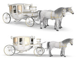 A  Goldfinished Carriage Drawn By A Pair Of Horses  3d Images   Wall Sticker