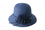 Woven blue hat decorated with flowers made of fabric and rope, isolated on a white background.