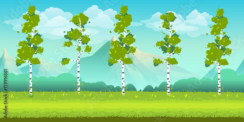 Seamless cartoon nature landscape, unending background with trees, mountains and cloudy sky layers. Vector illustration for your design.