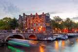 Amsterdam. City Canal at night.
