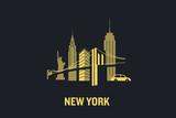 Fototapety New York city skyline illustration. Flat vector design.