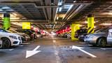 Modern, organized underground car parking garage. Perspective view. High-tech architecture - 159969049