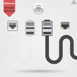 Ethernet cable and port isolated vector black and white icons, network socket icons, ethernet connector icon