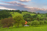 Stunning alpine landscape and green fields,Holbav,Transylvania,Romania,Europe