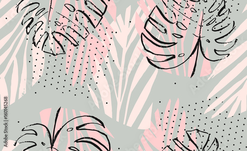 Hand drawn vector abstract artistic freehand textured tropical palm leaves seamless pattern in pastel colors with polka dots texture - 160145268
