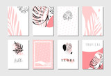 Hand drawn vector abstract artistic freehand textured unusual cards set template collection with tropical palm leaves in pastel colors isolated on white background - 160145408