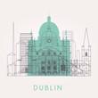 Outline Dublin skyline with landmarks. Vector illustration. - 160149040