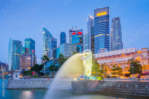 The Merlion and buidlings in city center of Singapore Poster