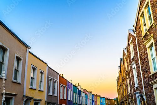 Colourful houses in Clifton village in Bristol at sunrise
