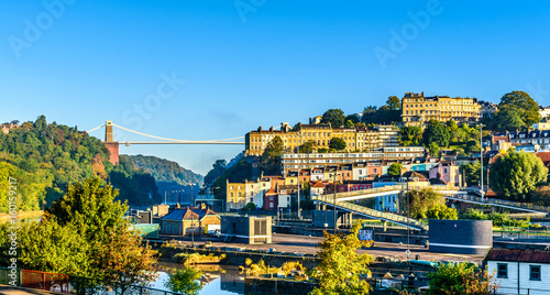 Clifton village in Bristol with Suspension bridge at background - 160159217