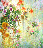 Abstract colorful flowers watercolor painting. Spring multicolored in .nature - 160165229