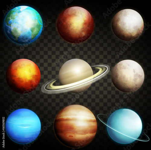 Planets of the solar system isolated on a transparent background. Set of realistic planets vector illustration