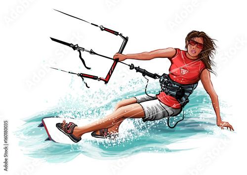 Young woman kiteboarding