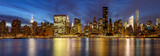 Panoramic view of Midtown East skyscrapers from the East River at twilight. Manhattan, New York City - 160184894