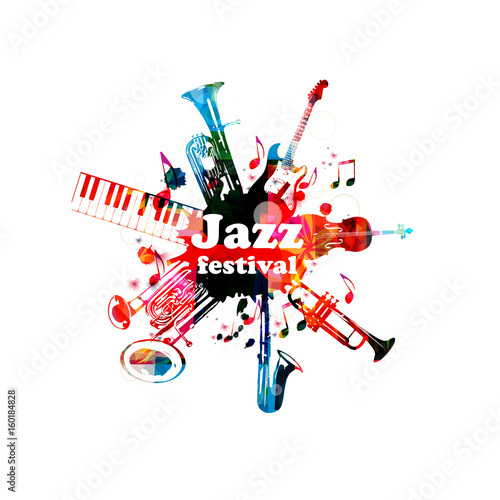 Music poster for jazz festival with music instruments. Colorful euphonium, piano keyboard, double bell euphonium, saxophone, trumpet, violoncello and guitar with music notes isolated vector design © abstract