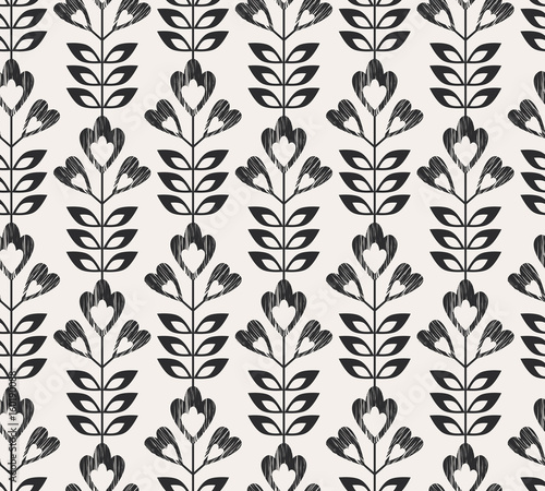 seamless retro pattern with abstract flowers and leaves - 160190088