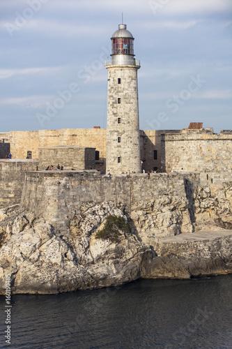 Spoed canvasdoek 2cm dik Havana Castillo und Leuchtturm