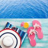 Summer fun time and accessories on blue wooden background. Mock up - 160213298