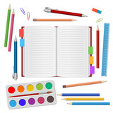 School supplies, open notebook, colour pencils, pens, watercolors paints, ruler, eraser on white background. Back to school. Education and school concept. Vector illustration - 160224697