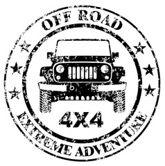 Off-road car stamp, safari suv, expedition offroader vector eps 10