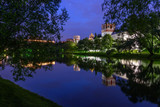 night Moscow Novodevichy monastery river reflection