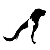 Vector silhouette of dog and cat logo on white background. - 160247203