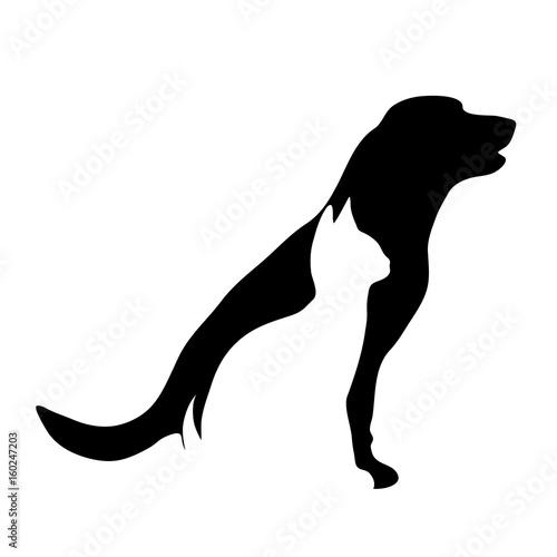 Fototapeta Vector silhouette of dog and cat logo on white background.