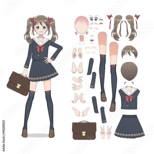 Anime manga schoolgirl in a skirt, stockings and schoolbag. Cartoon character in the Japanese style. Set of elements for character animation - 160281825