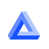 Penrose triangle icon in blue. Geometric 3D object optical illusion. Vector illustration. - 160301054