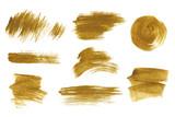 Gold metallic brush stroke set. Isolated hand drawn vector brushes. Gold glitter texture. - 160303899