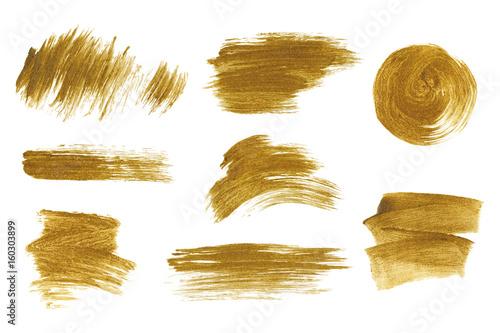 Zestaw złoty metalik pędzla. Pojedyncze ręcznie rysowane szczotki wektor. Tekstura złoty brokat.