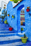Famous blue medina with colourful details in Chefchaouen, Morocco. - 160322803