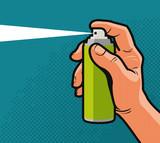 Fototapety Spray in hand. Comics style design. Cartoon vector illustration