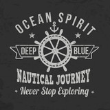Vintage sailing typography for t-shirt print