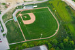 High angle view of baseball field, at day, Toronto, Ontario, Canada.